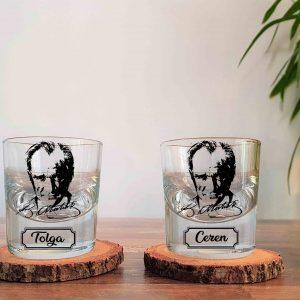 İsimli Atatürk İkili Kalın Viski Kadehi