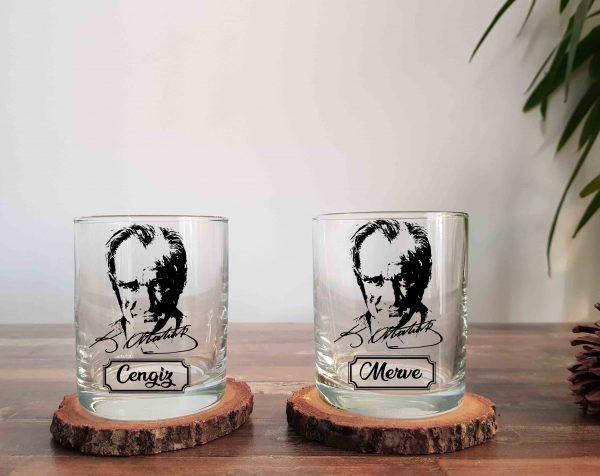 İsimli Atatürk İkili Viski Kadehi