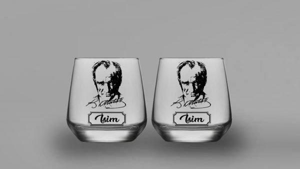 İsimli Atatürk İkili Oval Viski Kadehi