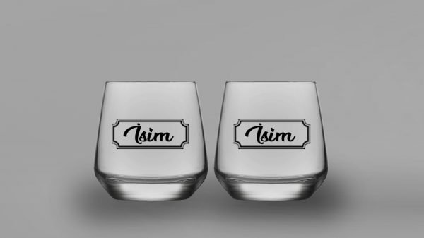 İsimli Klasik İkili Oval Viski Kadehi