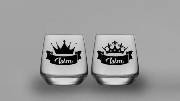 İsimli Kral Kraliçe İkili Oval Viski Kadehi