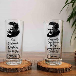 Nazım Hikmet İkili Rakı Bardağı