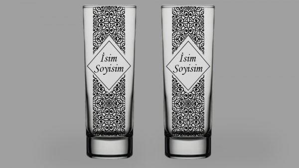 İsimli Desenli İkili Votka Bardağı