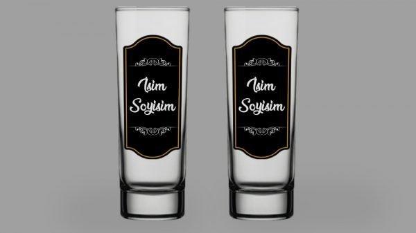 İsimli Siyah Kaplama İkili Votka Bardağı