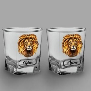 Aslan İkili Köşeli Viski Kadehi-isimli-viski-bardagi