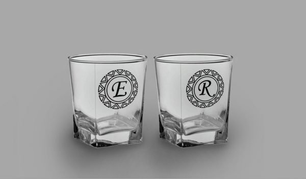 Baş Harfli İkili Köşeli Viski Kadehi isimli viski bardağı