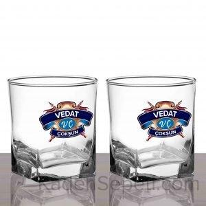 Chivas Mavi Logo Köşeli İkili Viski Kadehi