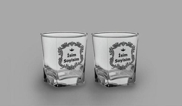 İsimli Arma İkili Köşeli Viski Kadehi isimli viski bardağı
