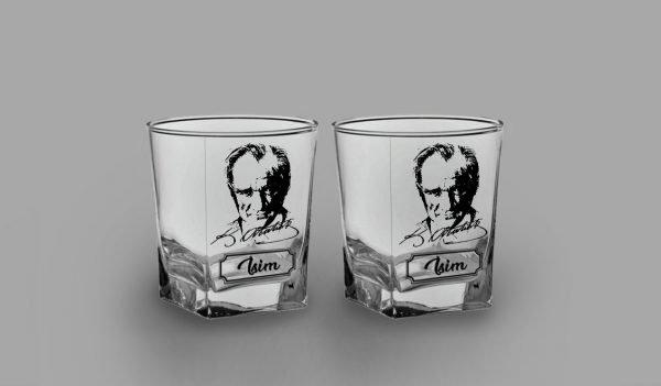 İsimli Atatürk İkili Köşeli Viski Kadehi isimli viski bardağı
