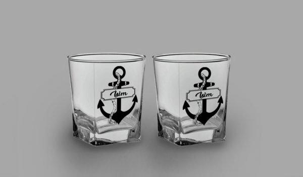 İsimli Çapa İkili Köşeli Viski Kadehi isimli viski bardağı