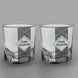 İsimli Desenli İkili Köşeli Viski Kadehi isimli viski bardağı