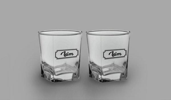 İsimli Klasik İkili Köşeli Viski Kadehi isimli viski bardağı