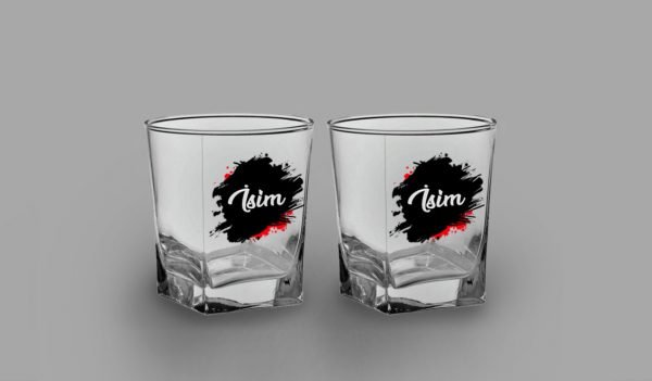İsimli Leke İkili Köşeli Viski Kadehi isimli viski bardağı