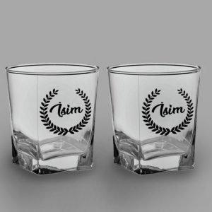 İsimli Yaprak Taç İkili Köşeli Viski Kadehi isimli viski bardağı
