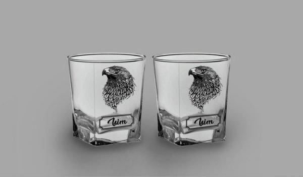 Kartal İkili Köşeli Viski Kadehi isimli viski bardağı
