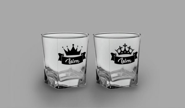 Kral Kraliçe İkili Köşeli Viski Kadehi isimli viski bardağı