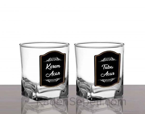 Siyah Kaplama İkili İsimli Köşeli Viski Kadehi