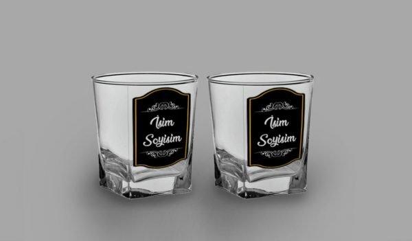 Siyah Kaplama İkili İsimli Köşeli Viski Kadehi isimli viski bardağı