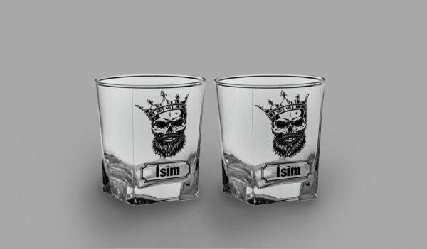 Skull King İkili Köşeli Viski Kadehi isimli viski bardağı