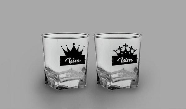 Taçlı İsimli İkili Köşeli Viski Kadehi isimli viski bardağı